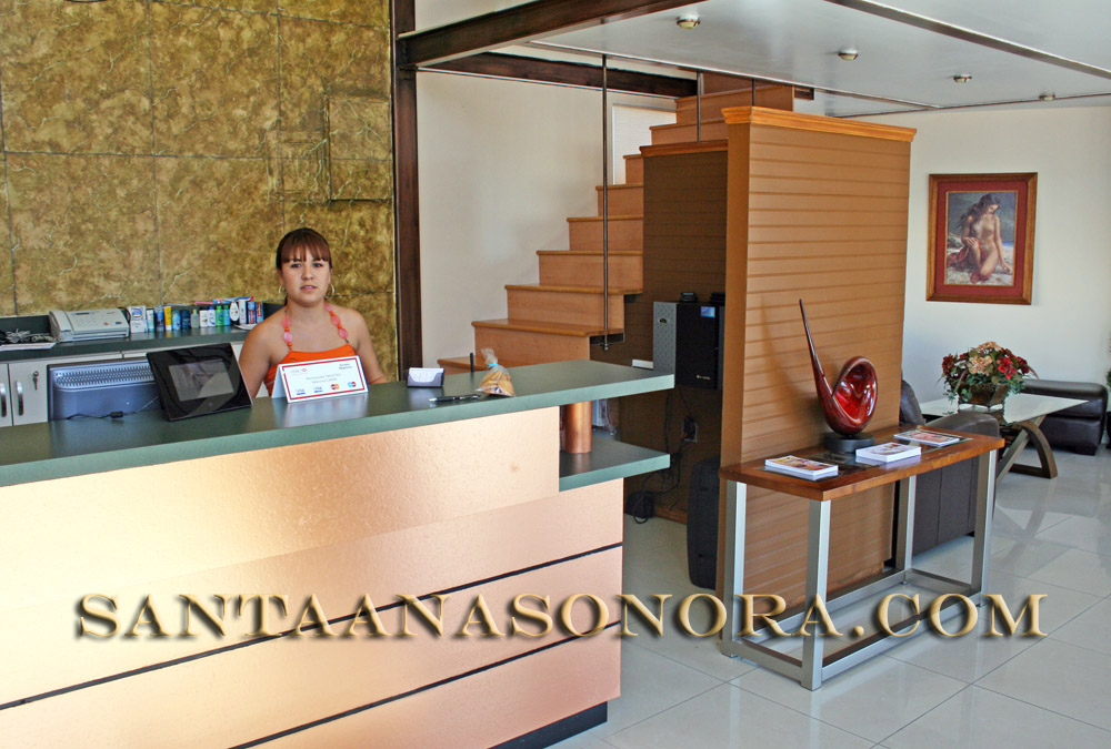 Reception desk at the Hotel La Villa in Santa Ana