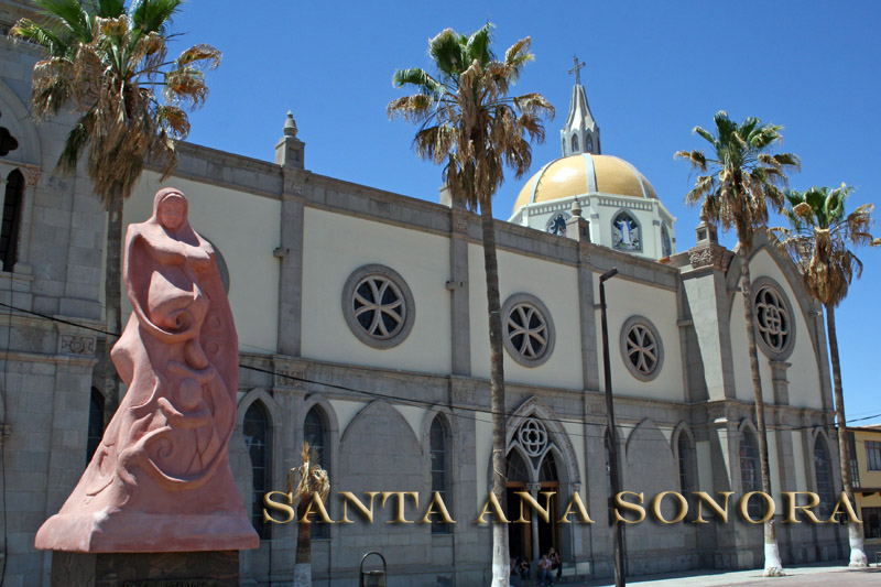 Church and statue in Santa Ana Sonora