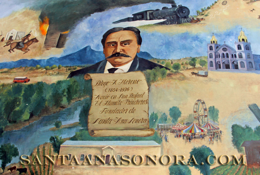 Mural of Santa Ana Sonora Mexico history located in the City Hall building
