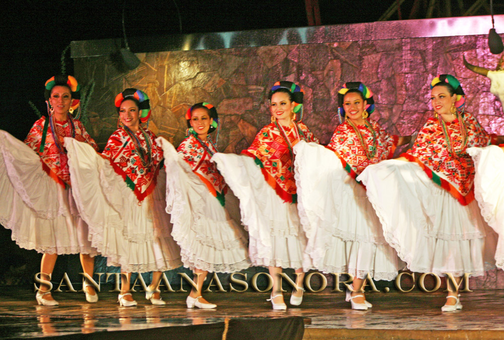 Ballet folklorico performers at the fiestas in Santa Ana Sonora