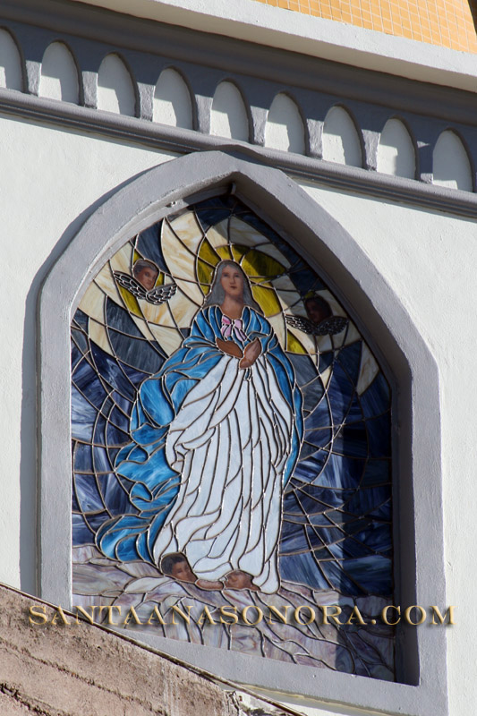 Stained glass in Santa Ana Sonora church